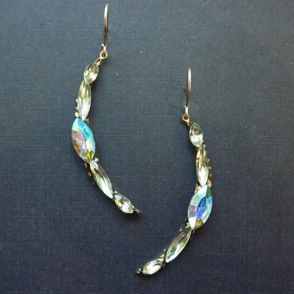 Vintage white crescent drop crystal earrings