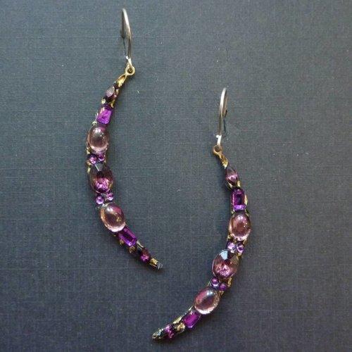 Annie Sherburne Vintage purple crescent drop crystal earrings