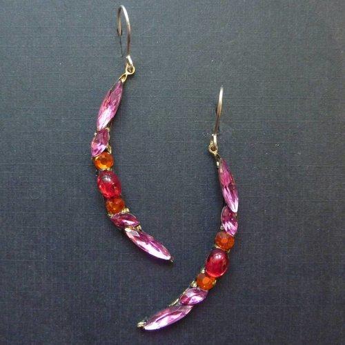 Annie Sherburne Vintage pink & red crescent drop crystal earrings