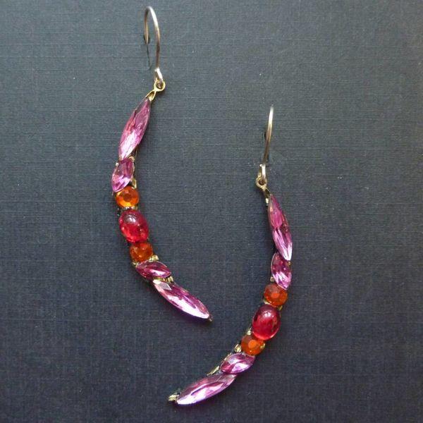 Copy of Vintage purple crescent drop earrings crystal assemblage