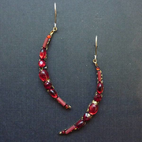 Vintage red crescent drop crystal earrings