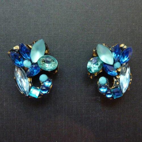Annie Sherburne Vintage Blue Stud earrings crystal assemblage