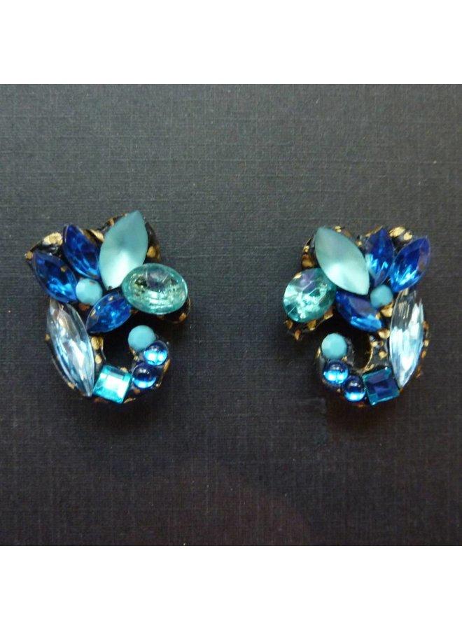 Vintage Blue Stud earrings crystal assemblage