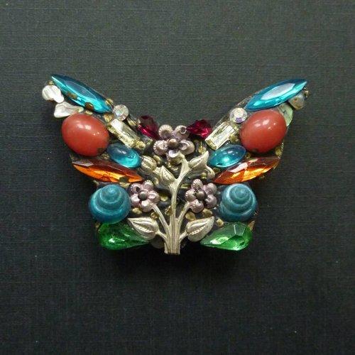 Annie Sherburne Vintage Butterfly Large brooch crystal assemblage