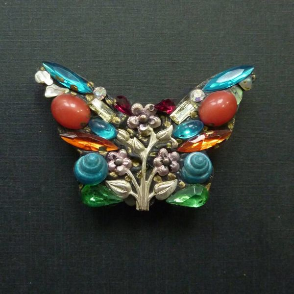 Vintage Butterfly  crystal brooch