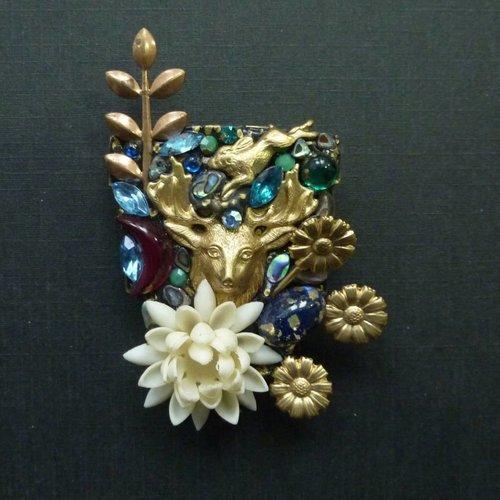 Annie Sherburne Vintage Shield with Stag brooch crystal assemblage