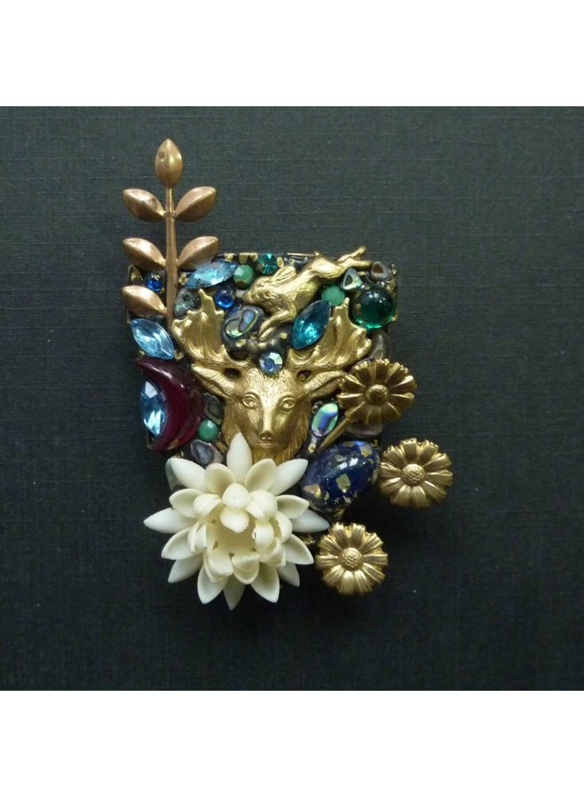 Vintage Shield with Stag brooch crystal assemblage