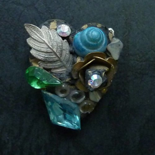 Annie Sherburne Vintage  blue shell heart brooch crystal
