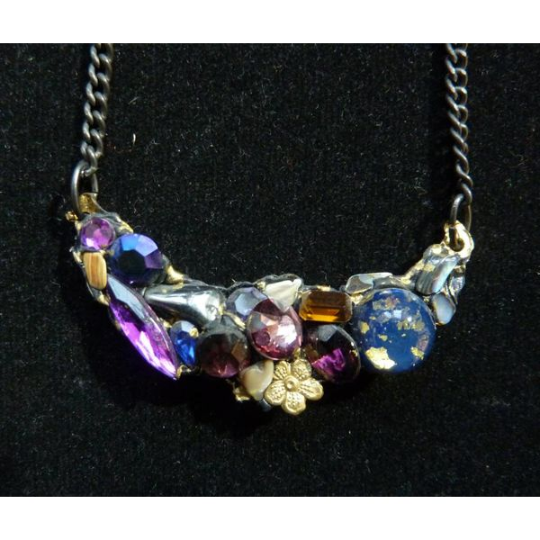 Vintage Purples Necklace with flower crystal assemblage