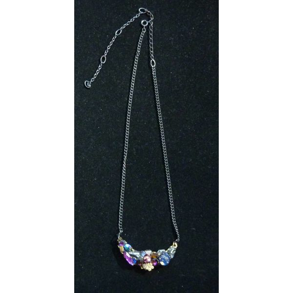Vintage Purples Crystal Necklace with flower