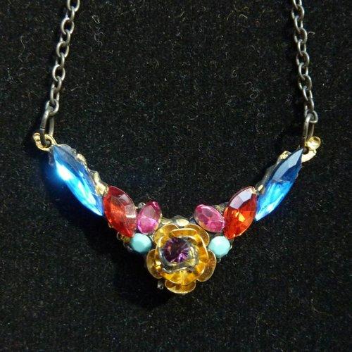 Annie Sherburne Vintage Multi Crystal Necklace with Rose