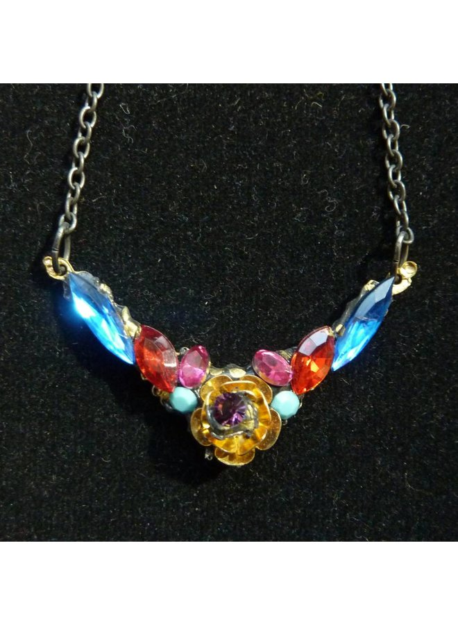 Vintage Multi Necklace with Rose crystal assemblage