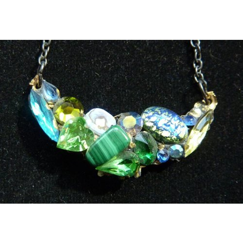 Annie Sherburne Vintage Green Necklace with crystal Malachite
