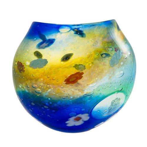 Martin Andrews Salsa Aqua / Gold flache Vase klein
