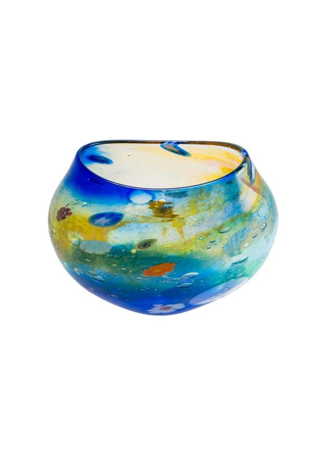 Salsa Aqua / Gold flache Vase klein