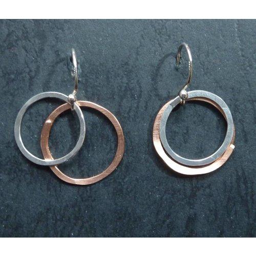 Melissa James Copper and Silver Hoop Drop Earrings