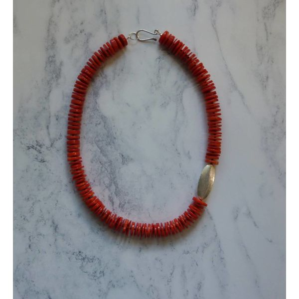 Coral Disc and Pod Necklace