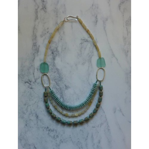 Melissa James 3 Strand Aqua, Yellow Agate, Amozonite Necklace