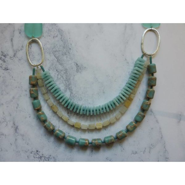 3 Strand Aqua, Yellow Agate, Amozonite Necklace