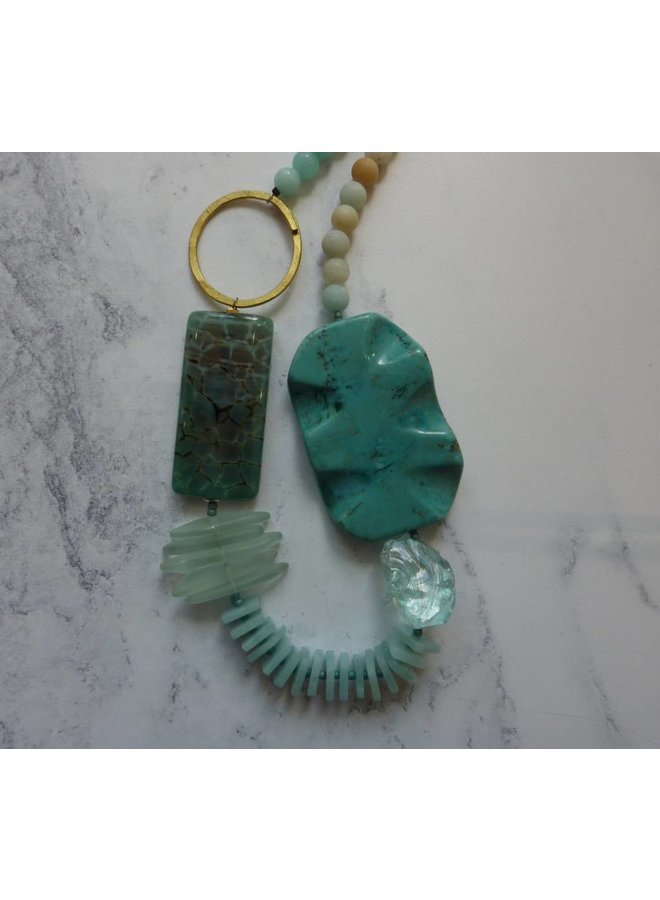 Copy of Aquamarine and silver heart pendant