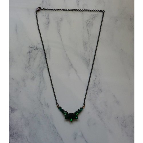 Annie Sherburne Vintage Green Necklace crystal assemblage