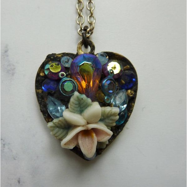 Vintage Heart pendant crystal assemblage