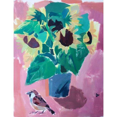 Adrienne Craddock Spatz und Sonnenblumen