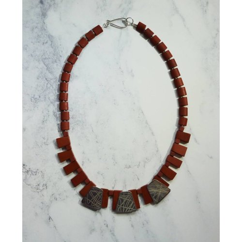 Angela Learoyd Silver and Red Jasper collar necklace