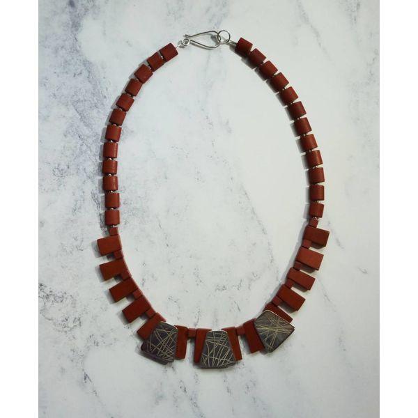 Collar de cuello Jaspe plateado y rojo