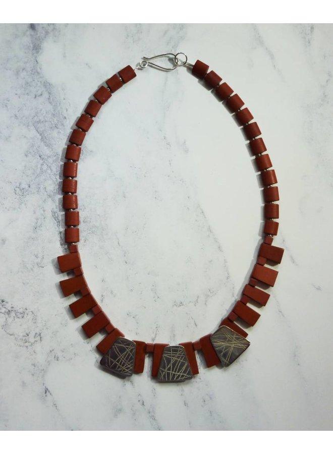 Halskette aus Silber und Rotem Jaspis