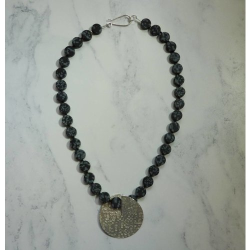 Angela Learoyd Silver and Snowflake Obsidian Flip necklace
