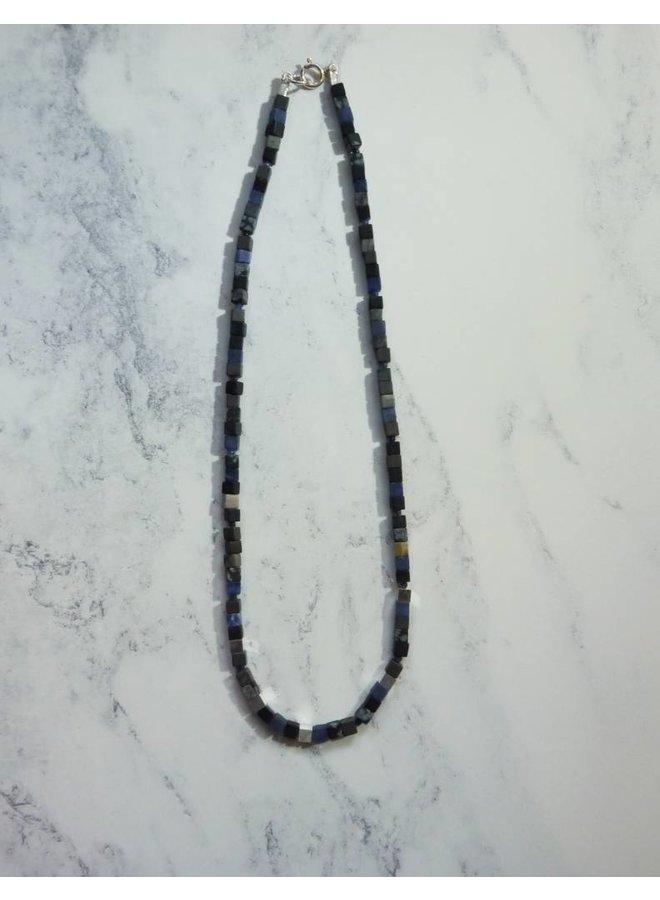 Small Cube Halskette - gemischte Grautöne, Sodalith, Silber