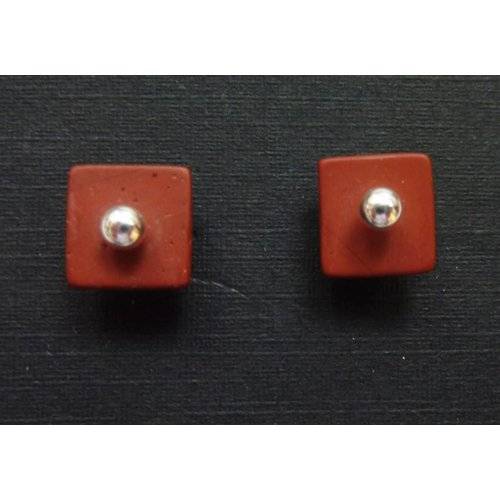 Angela Learoyd Red Jasper and silver stud earrings detachable