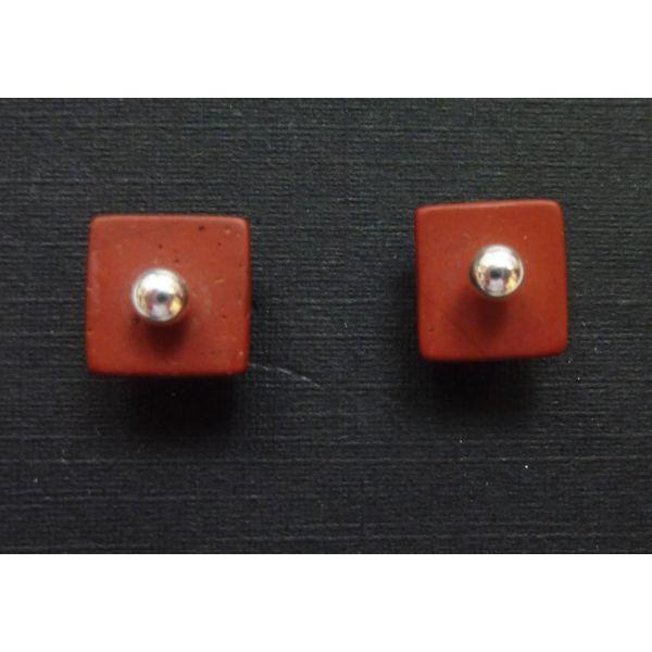 Pendientes de jaspe rojo y plata desmontables