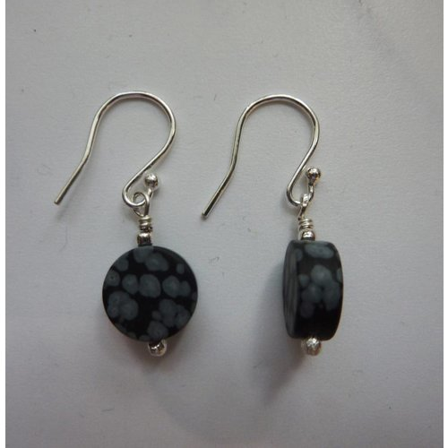 Angela Learoyd Snowflake Obsidian disc drop earrings