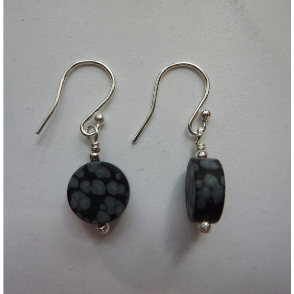 Snowflake Obsidian disc drop earrings