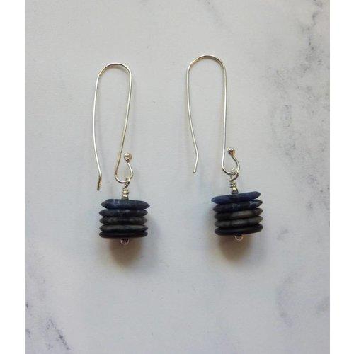 Angela Learoyd long drop earrings onyx, jasper & sodalite