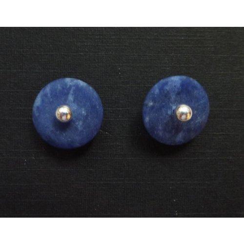 Angela Learoyd Silver and sodalite detachable stud earrings