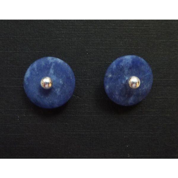 Silver and sodalite detachable stud earrings