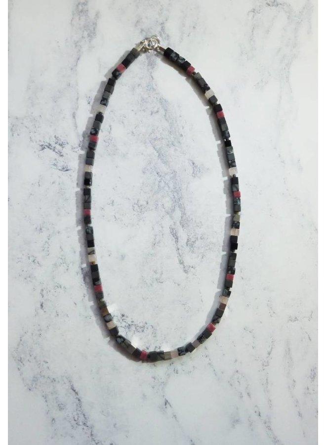Small Cube Halskette - gemischte Rose, Rhodonit, Silber