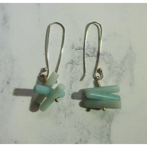 Angela Learoyd Spiky Cylinder Amazonite earrings