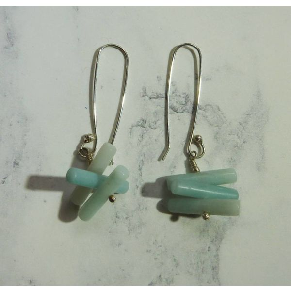 Spiky Cylinder Amazonite earrings