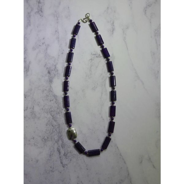 Lozenge soladite and silver necklace