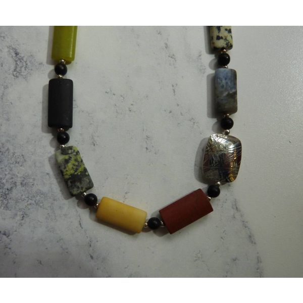 Lozenge mixed gemstones and silver necklace