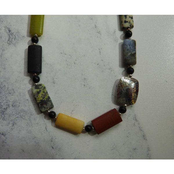 Raute gemischt Edelsteine und Silberkette