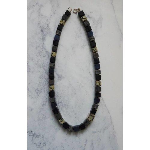 Angela Learoyd Silver cube Sodalite, Dalmatian Jasper, Onyx & Picasso Jasper necklace
