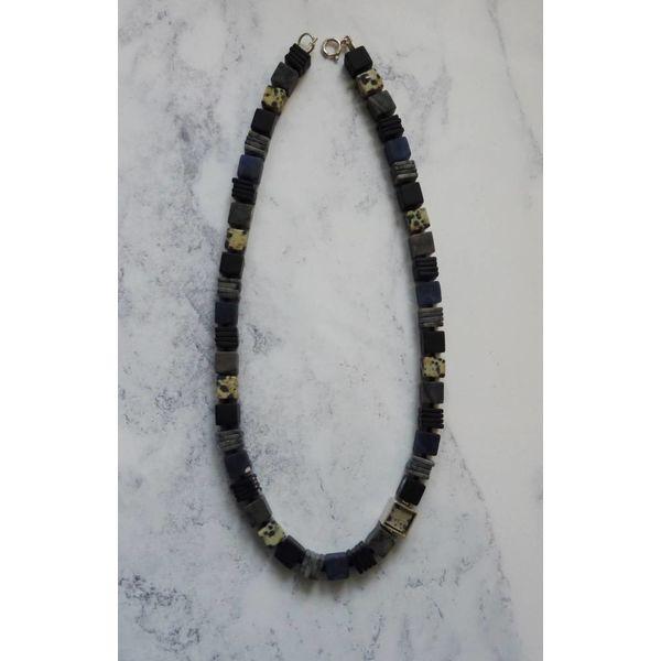 Collar de plata Sodalita, Dalmacia Jaspe, Onyx y Picasso Jasper