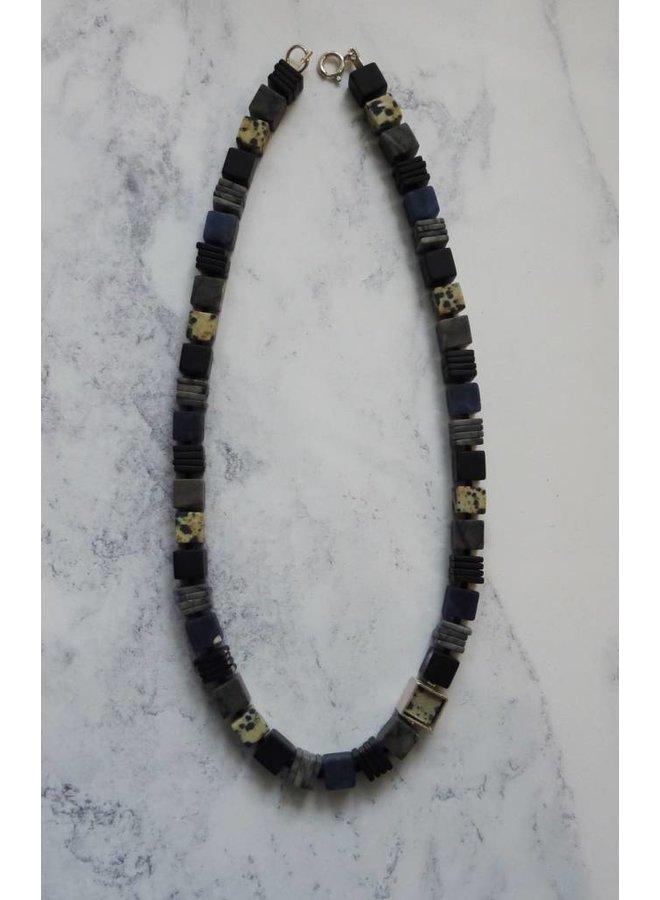 Silberwürfel Sodalith, Dalmatiner Jasper, Onyx & Picasso Jasper Halskette