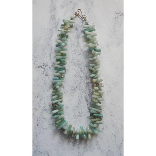 Angela Learoyd Spiky Cylinder Amazonite y collar de plata