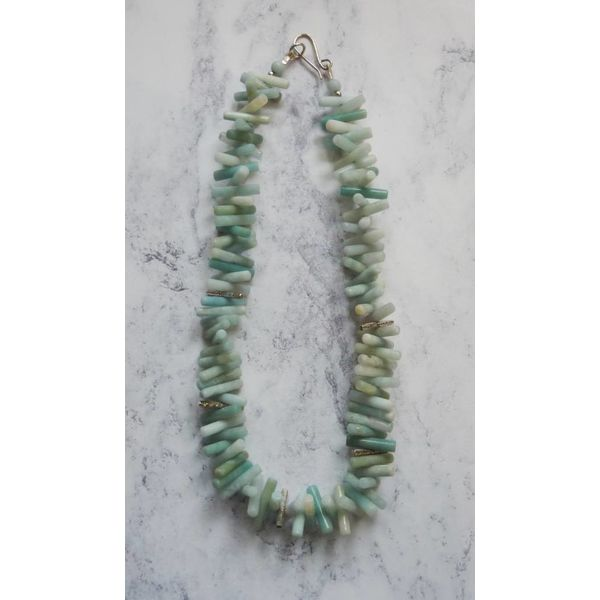 Spiky Cylinder Amazonite and silver necklace
